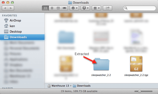 Downloaded and extracted Sleepwatcher to the download folder. Please take note of the folder name.