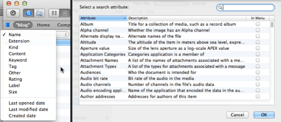 Search attributes: Path Finder (left) vs OS X Finder (right)