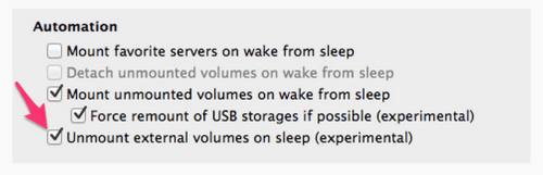 Unmount volumes on sleep