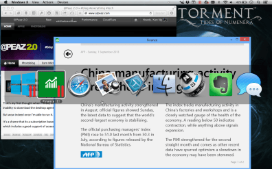 Windowed Modern (Metro) app in Coherence mode.