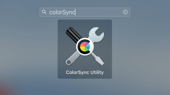 Search for ColorSync using the Launchpad on OS X