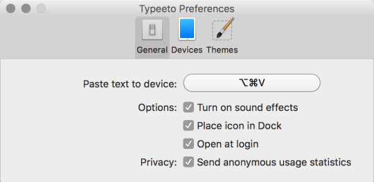 Typeeto preference - general settings