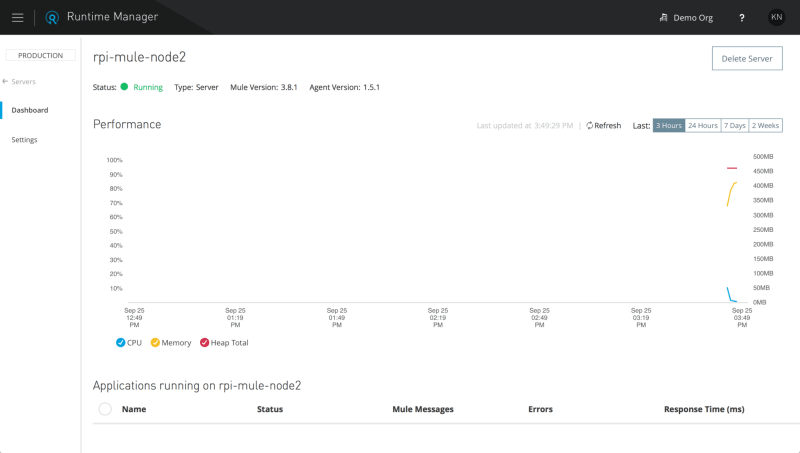 Viewing the Mule Server dashboard on Anypoint Runtime Manager
