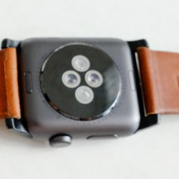The back view of the Nomad Horween Leather Strap on the Apple Watch