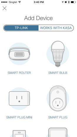 Select to setup the Smart Plug in the Kasa App
