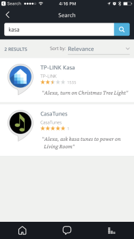 Search of the Kasa Skill in the Alexa app