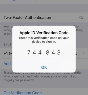 Apple Two-Factor Authentication Verification Code