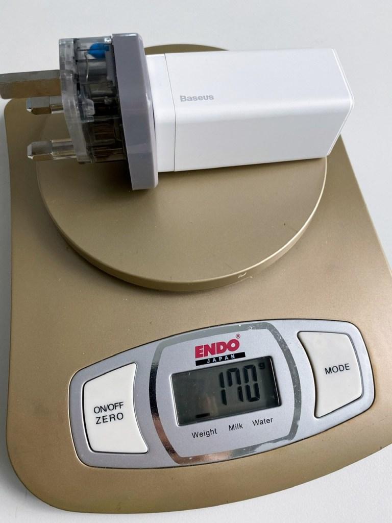 Baseus GaN 65W USB-C Charger with UK plug adapter weight