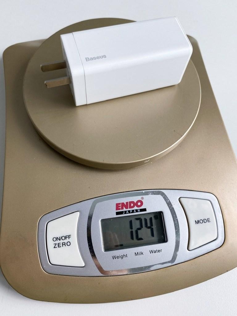 Baseus GaN 65W USB-C Charger weight
