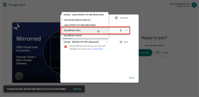 Setting Soundflower as Mic input on Google Meet