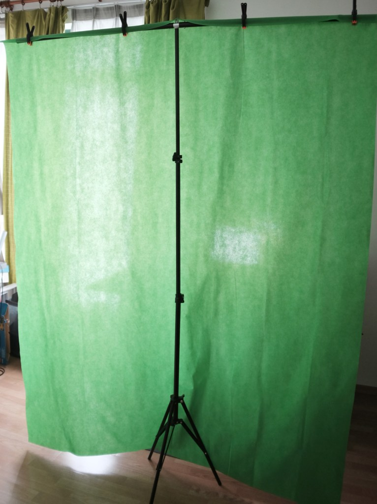Back view of green screen stand