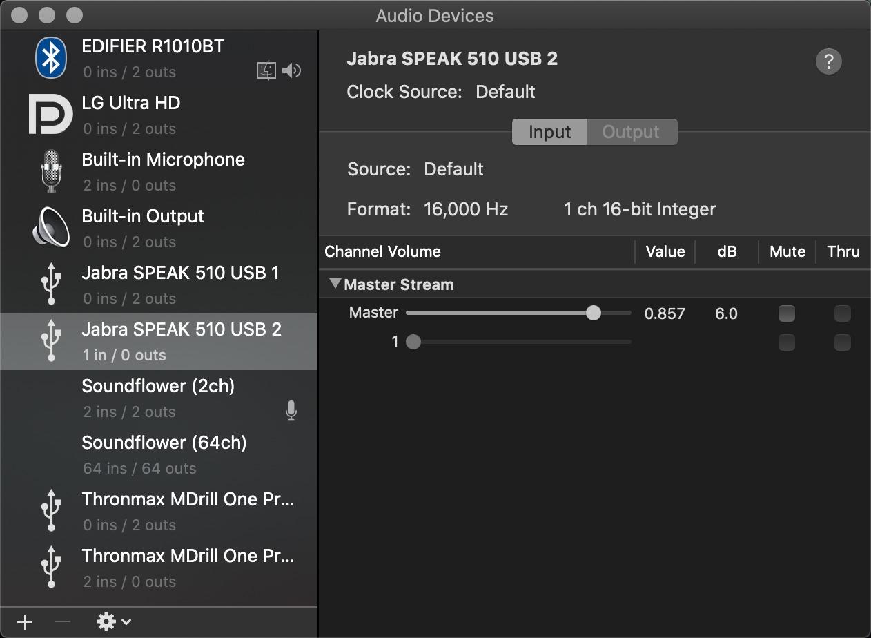 Jabra Speak 510 supports 16 kHz 16-bit recording