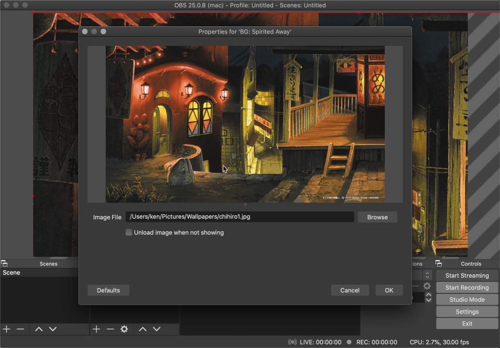 Adding an image file on OBS