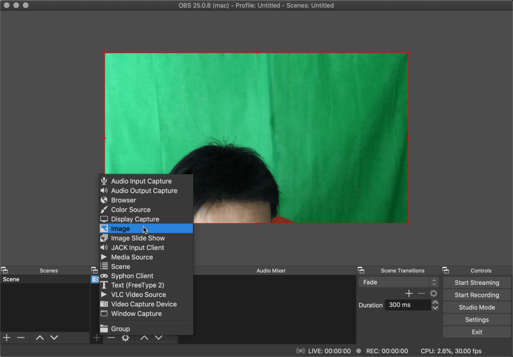 Add an image layer to the scene on OBS