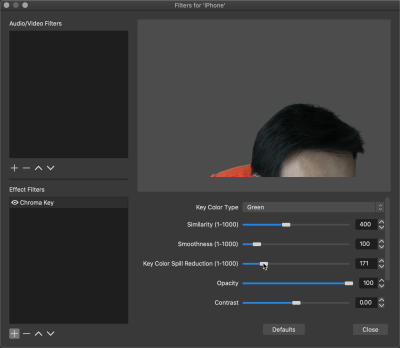 Chroma key filter in action