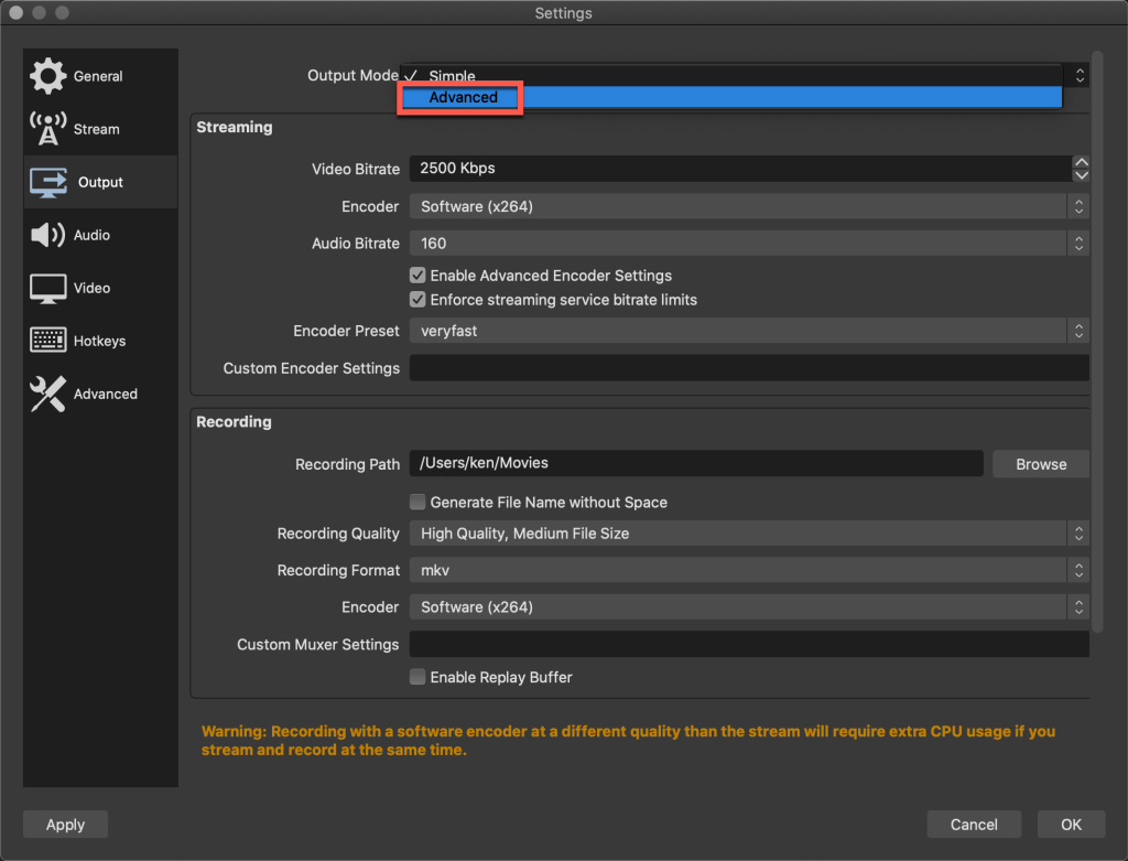 Switching to the OBS output advanced settings