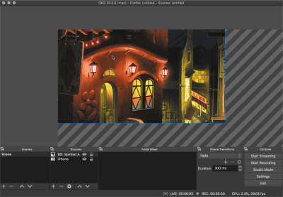 OBS preview resized to canvas size