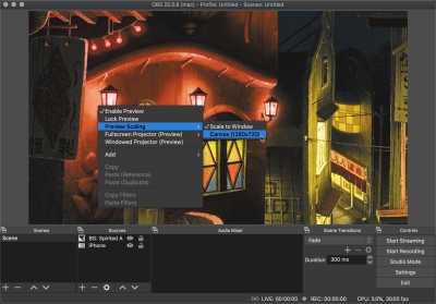Scale the OBS preview to the canvas size