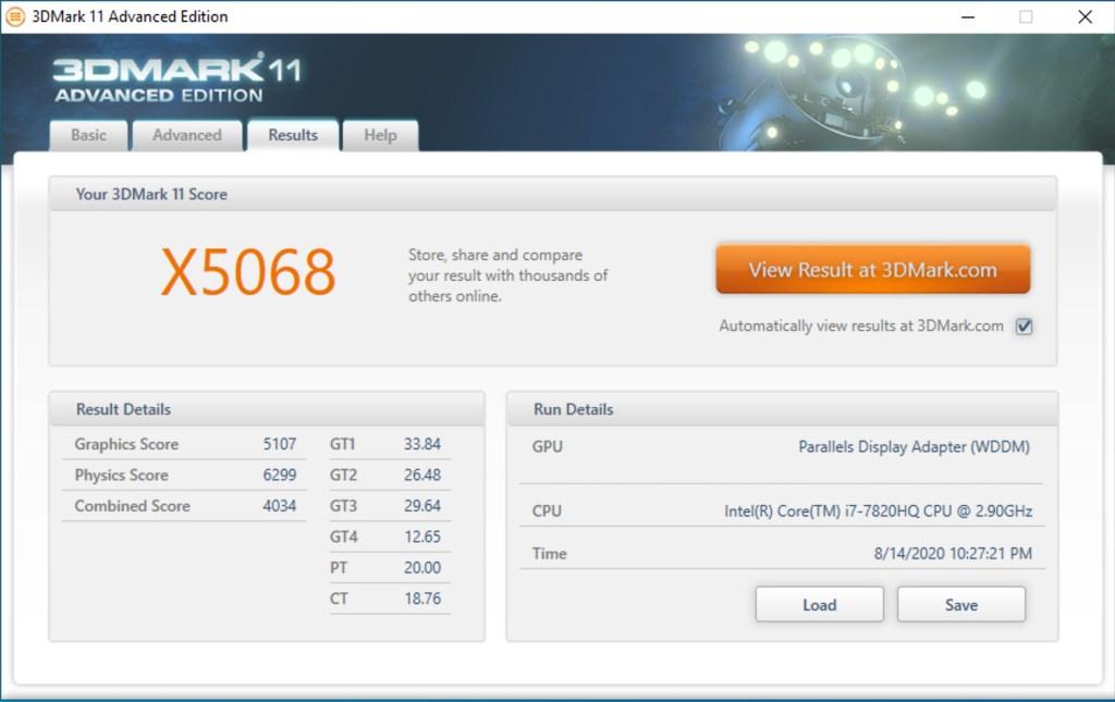 3DMark 11 Results when running on Windows 10 on Parallels Desktop