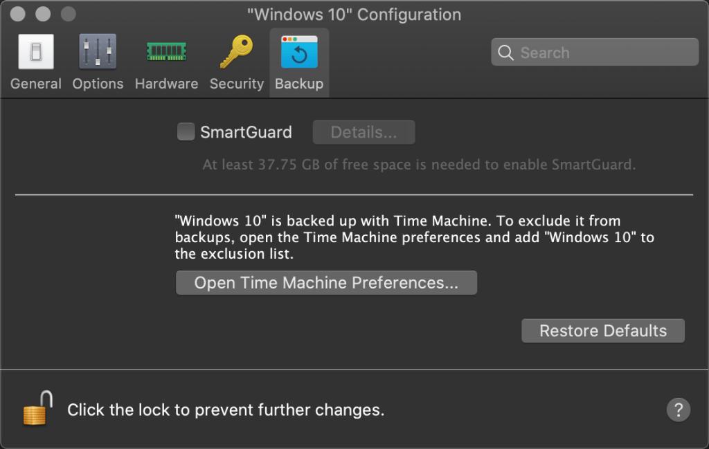 Parallels Desktop: Backup configurations