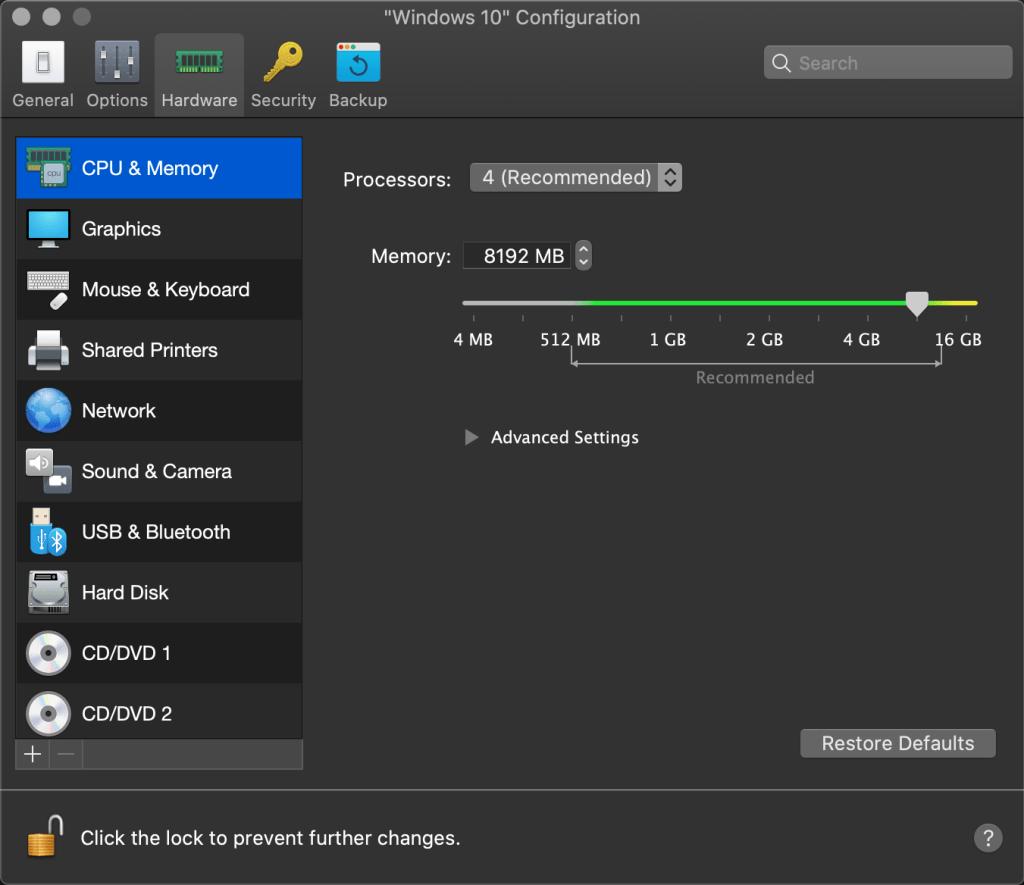 Parallels Desktop: Memory configurations
