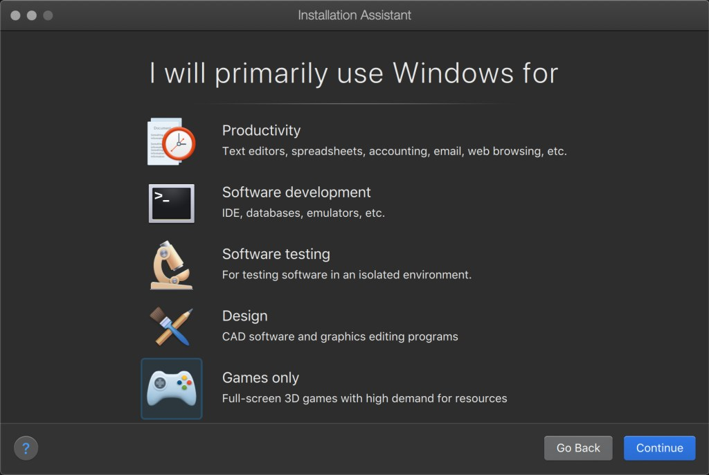 Pre-set configurations based on your primary use of Windows
