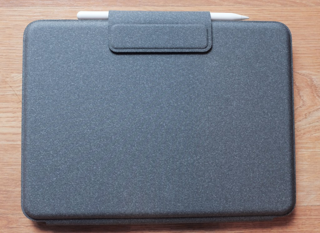 Logitech Folio Touch closed with the Apple Pencil in the storage slot