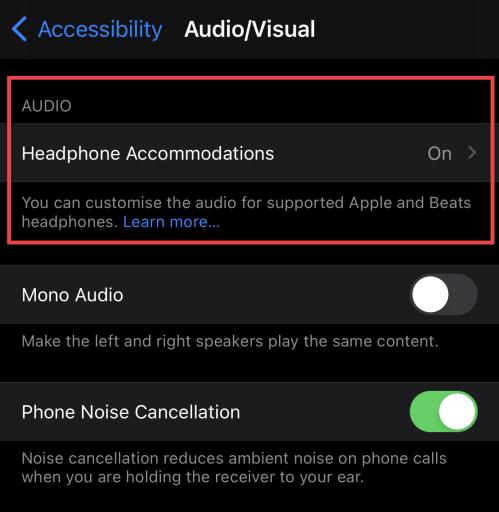Headphones Accomodations settings in the iOS Accessibility Audio/Visual settings
