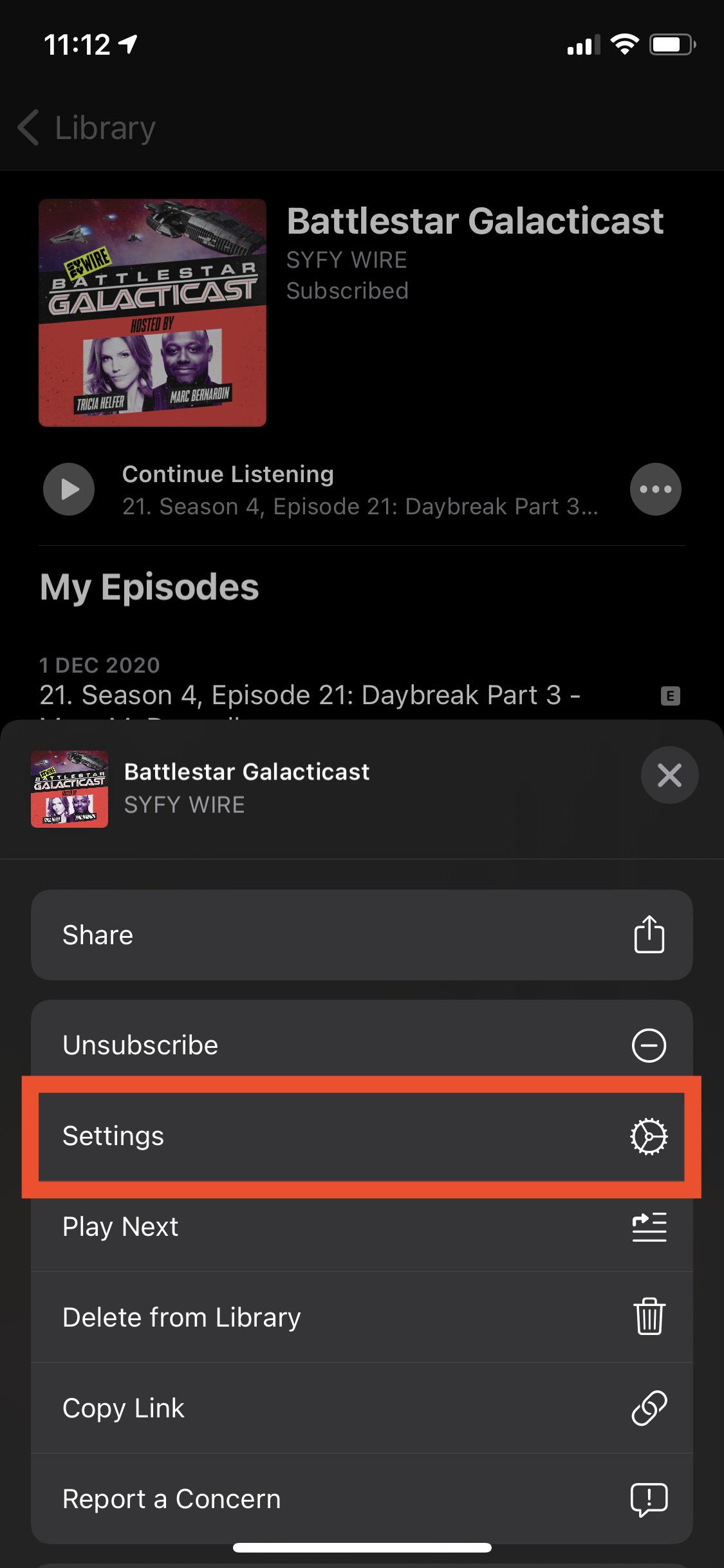 Apple Podcast series settings