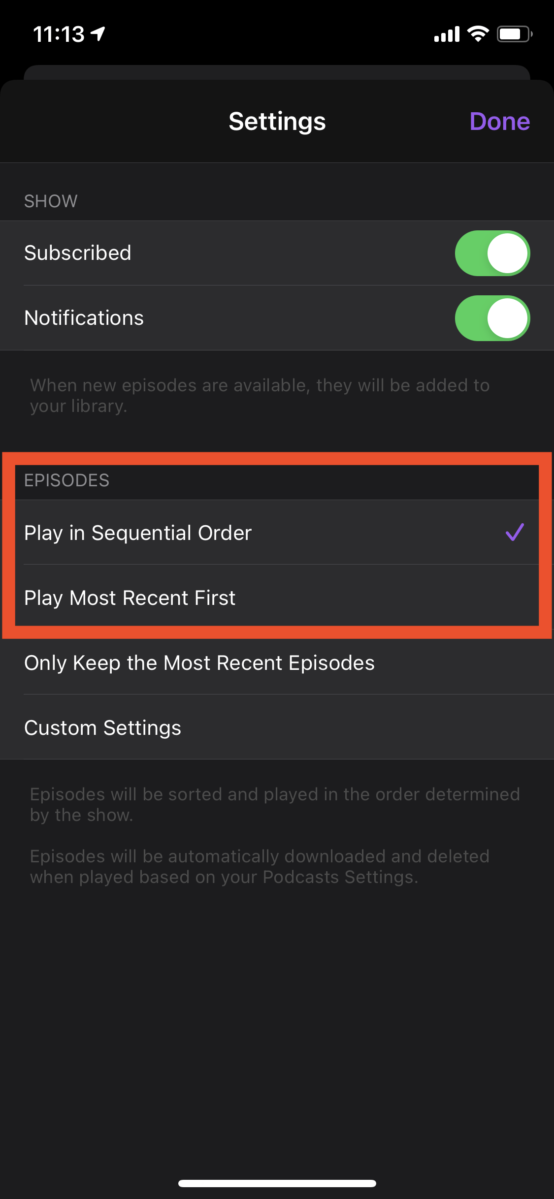 Apple Podcast series playback settings