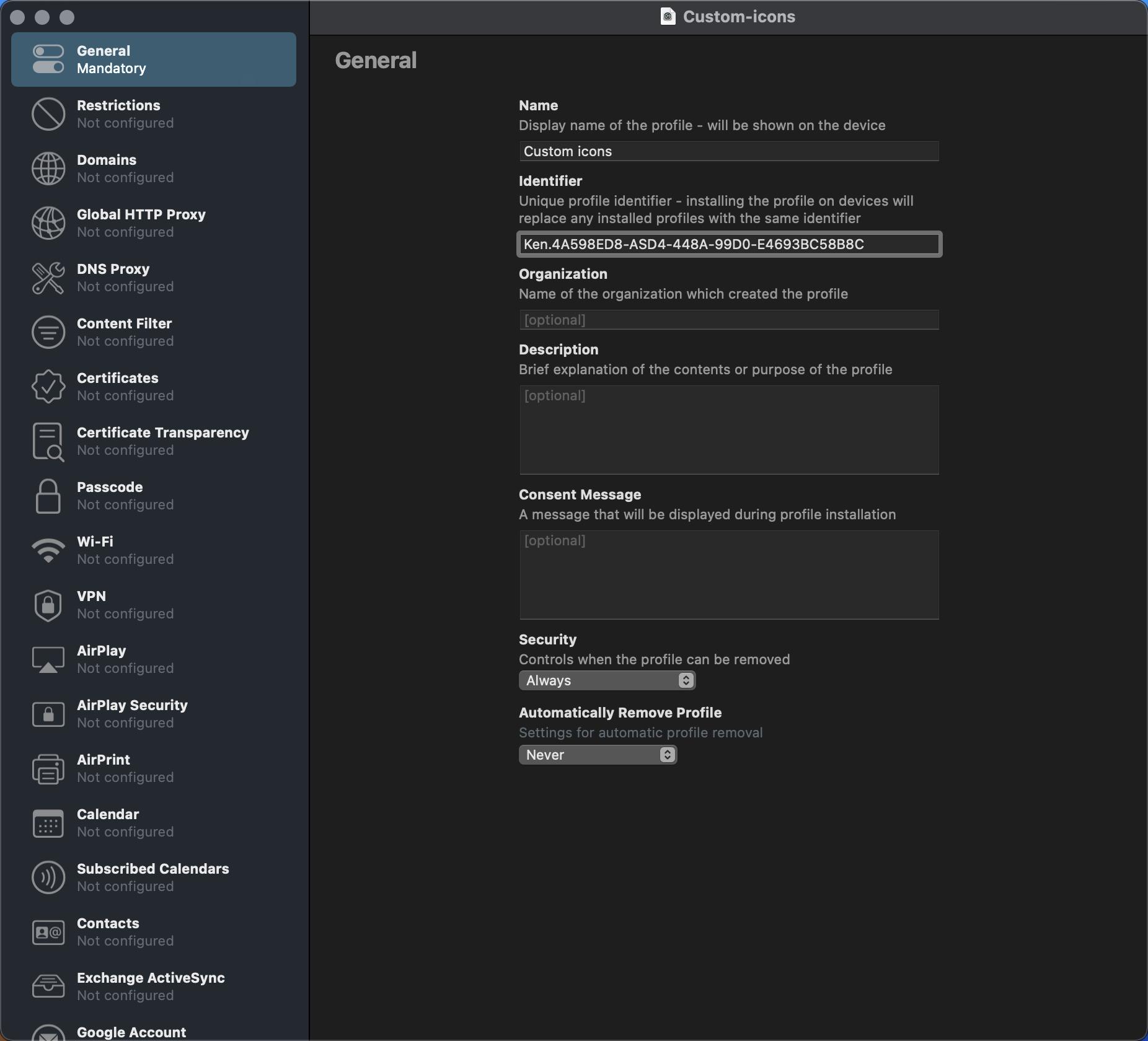 Creating a new profile on Apple Configurator 2