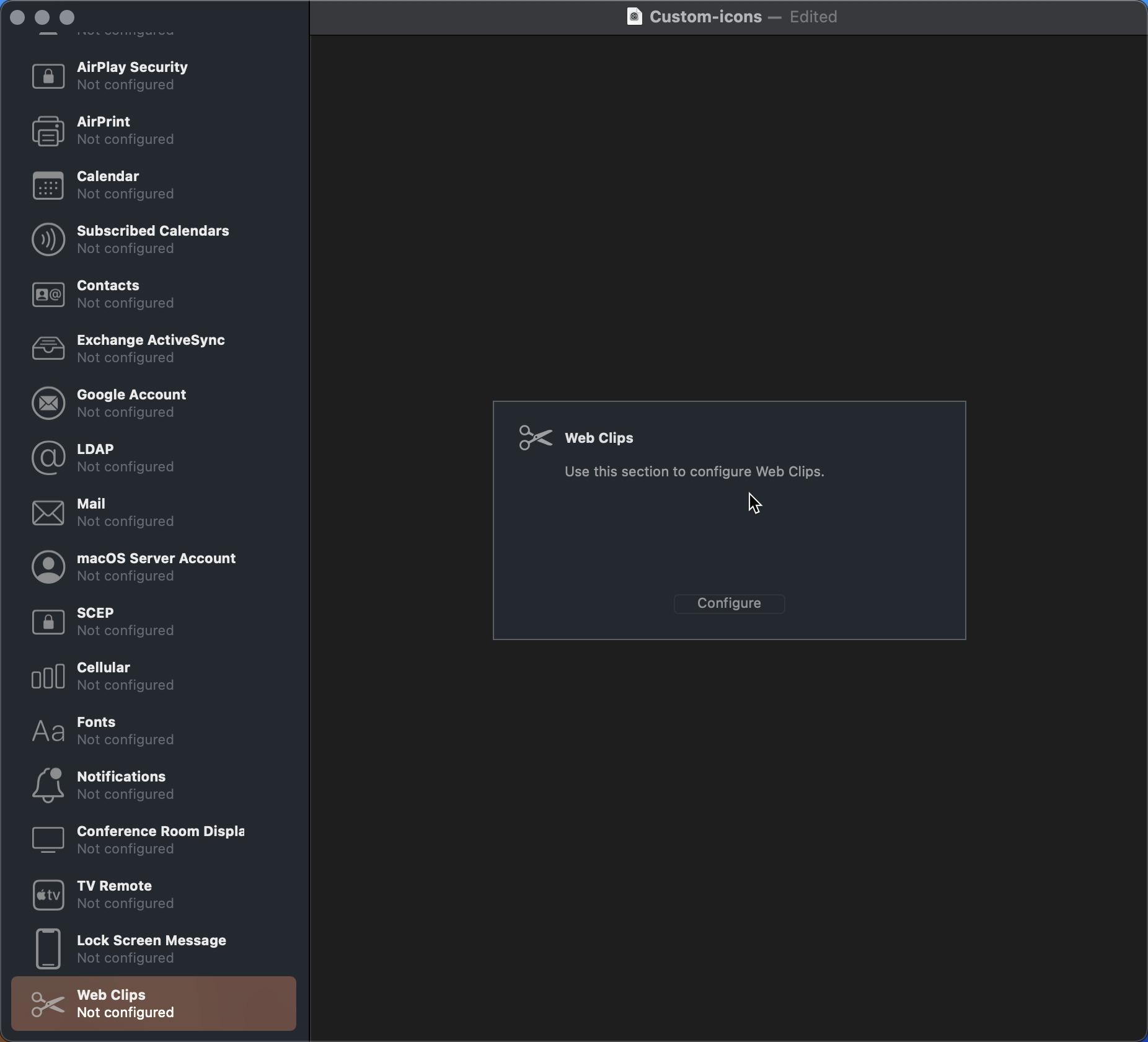 Web clips configuration on Apple Configurator