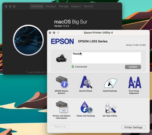 Epson Printer Utility 4 on macOS 11.x Big Sur