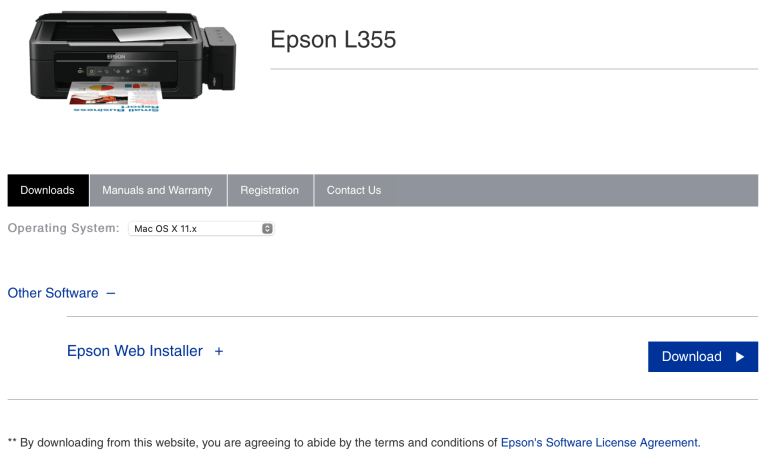 No Epson L355 drivers found on Epson Singapore's Support site