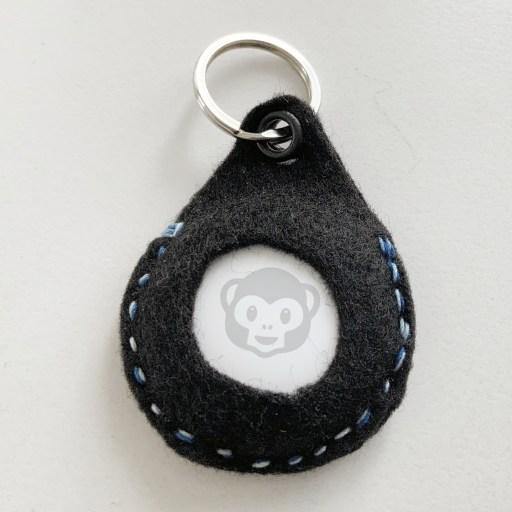 An Apple AirTag inside a DIY keychain holder made from felt
