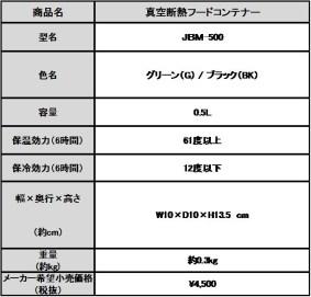 「真空断熱フードコンテナー」(JBM-500)製品概要表