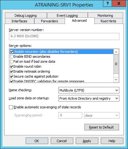 Отключение рекурсии у DNS server на платформе Windows Server 2012 R2