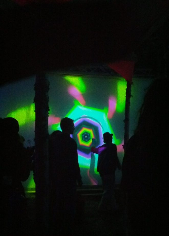 We also did a geometry projection installation at Kosmos 2015, where people could create their own geometries interactively