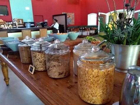Café da manhã no hotel da Vinícola Spier - Stellenbosch - África do Sul