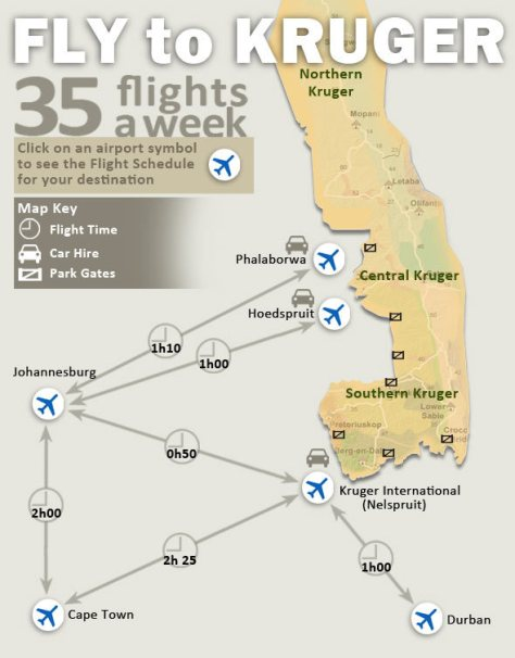 Mapa de aeroportos no Kruger - Fonte: Sanparks