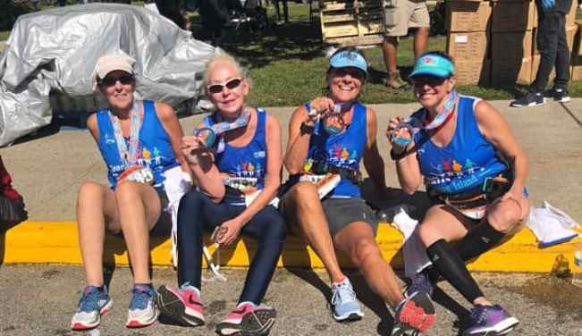 Hilary and friends after the Hamptons Half Marathon