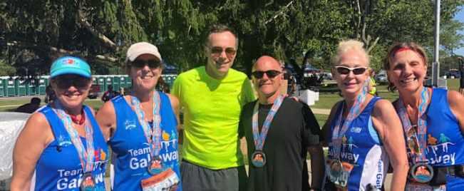 Hilary and friends doing the Hamptons Half Marathon
