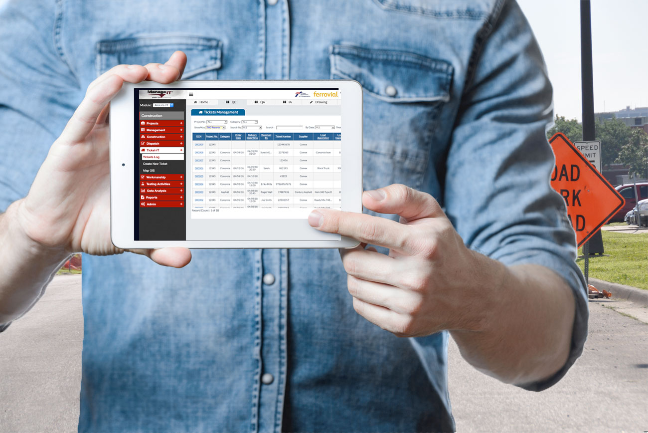 Easily track tickets by work order, sample number, construction items and test or inspection reports.