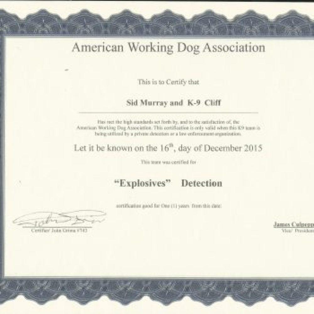 Explosive Certification