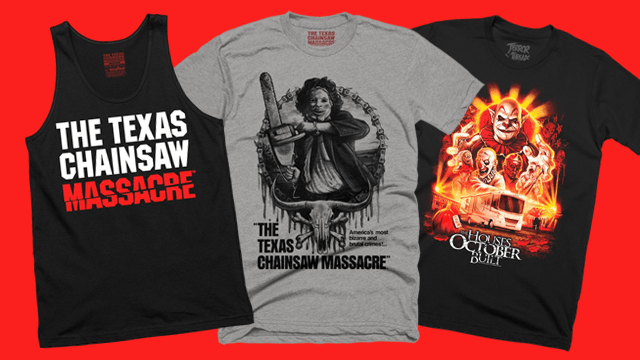 THE TEXAS CHAINSAW MASSACRE and THE HOUSES OCTOBER BUILT T-Shirts from Terror Threads