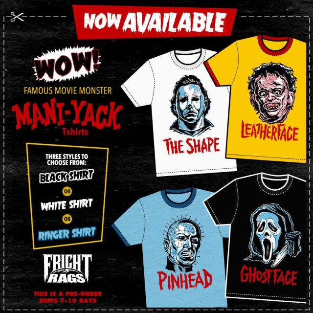 Rob Zombie's HOUSE OF 1000 CORPSES, THE CABIN IN THE WOODS and MANI-YACK Merchandise from Fright-Rags