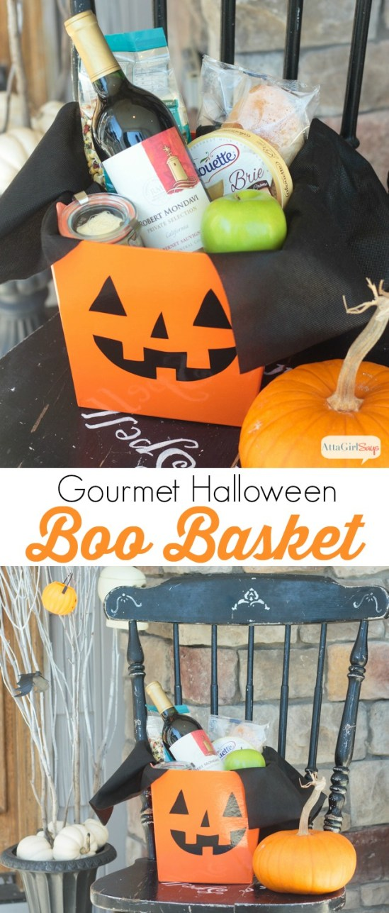 Surprise your neighbors with this gourmet Halloween gift basket on their doorstep. Love this twist on the Halloween Boo'd game.