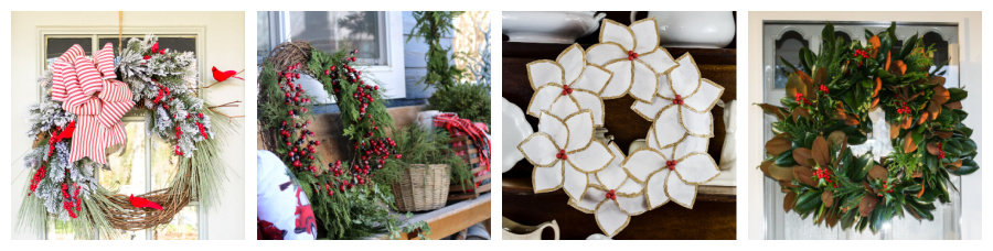 collage of four different Christmas wreaths and other holiday door decor