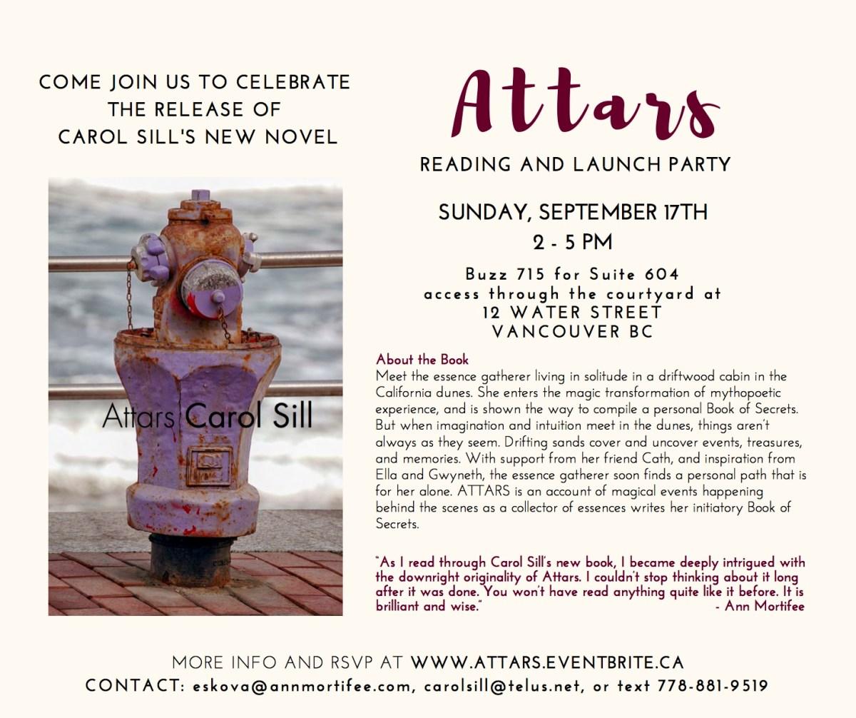Attars book by Carol Sill, launch invitation