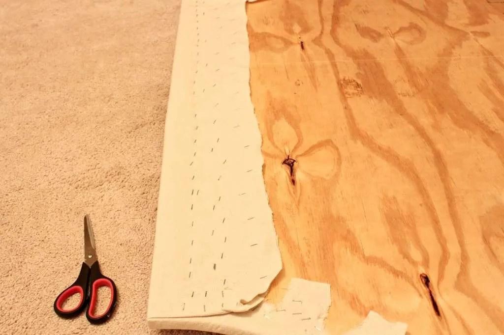 stapling fabric to headboard
